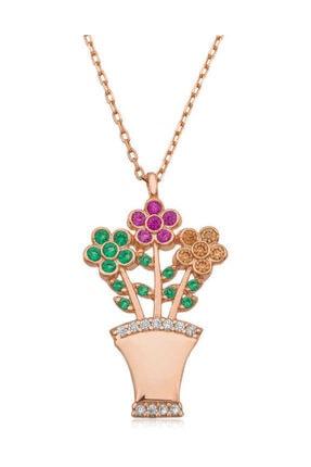 Silverella Gümüş Çiçek Buketi Bayan Kolye
