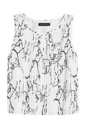 Banana Republic Kadın Beyaz Pliseli Cropped Bluz 550120