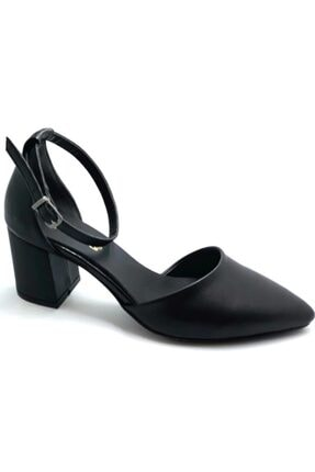Punto 544804 Kadın Tek Bant Topuklu Siyah Ayakkabı