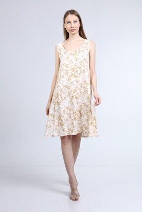Home Store Elbise Açik Yaka Kolsuz Çiçek Desenli Bej
