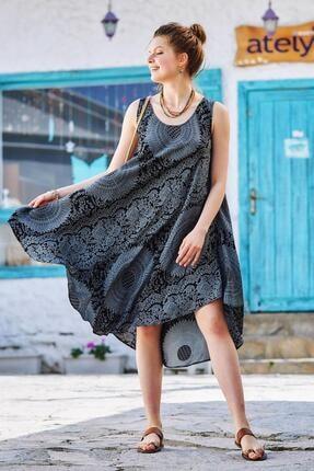 Los Banditos Kadın Gri Desenli Kayık Yaka Kolsuz Elbise