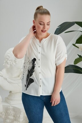 Rmg Büyük Beden Kuş Tüyü Baskılı Gömlek - 4196 Ekru