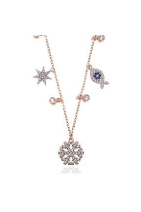SilverPlus Kadın 88 Zirkon Taşlı Rose Gümüş Şans Kolyesi
