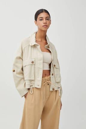 Pull & Bear Kadın Kum Rengi Rustik Ceket